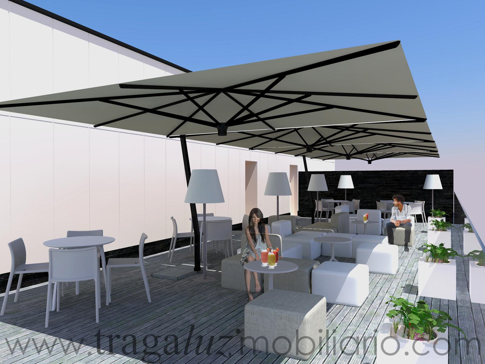 Proyectos de exterior terrazas mobiliario de dise o en for Sombrillas terraza